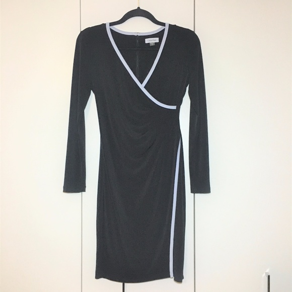 Calvin Klein Dresses Black Wrap Dress With White Trim Poshmark