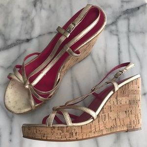 NEW BODEN Cork Distressed Gold Strap Wedge Heels