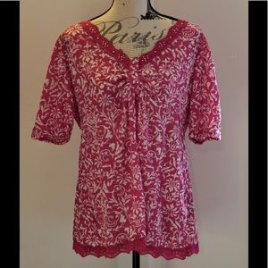 Faded Glory Pink and White Floral Top Sz XL 16/18