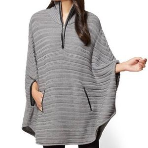 Sweaters - Gray Zip Front Poncho