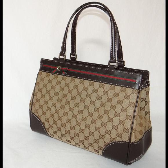 ae7eb897cfc Gucci Handbags - Gucci monogram canvas   leather Mayfair tote bag