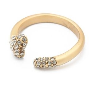 House of Harlow Bone Pave Stone Dipped Gold Ring 8