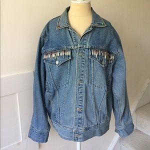 Vintage Freego Oversized Embellished Denim Jacket