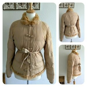 Class Roberto Cavalli fur trim embroidered coat