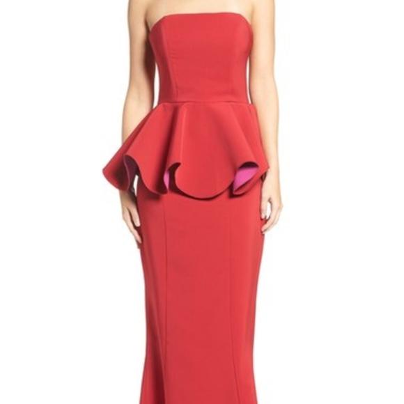 Maria Bianca Nero Dresses | Red Colorblock Peplum Gown Dress | Poshmark