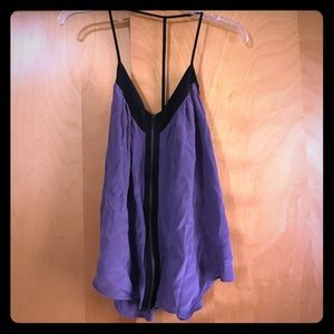 Purple and black silk tank