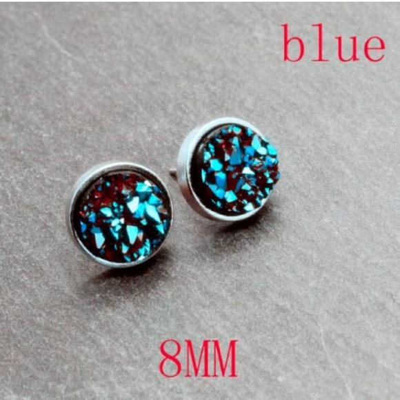 164dd338dd6ed 8mm Druzy Blue Crystal Stone Silver Stud Earrings Boutique