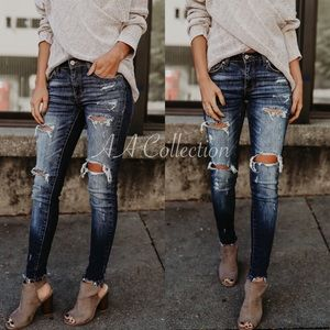 Denim - Distressed denim skinny jeans 0-15 23-31