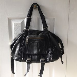 L.A.M.B Black Leather Satchel Gwen Stefani LAMB