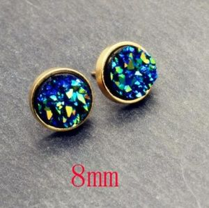 Jewelry - Gold Natural Druzy Blue Green Circle Earrings
