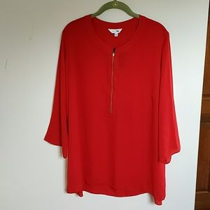 Simply Be red 3/4 sleeve zip front blouse 16 NWT