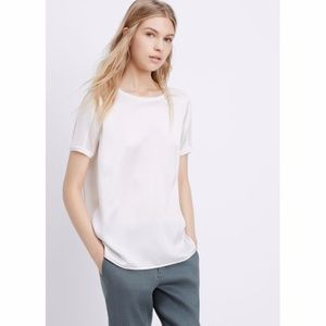 VINCE Silk Matte-Shine Contrast Mixed Media Tee S