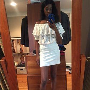 Free People Modern Femme Denim Mini Skirt - White
