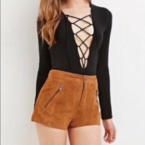 Pants - Suede lined high waisted shorts