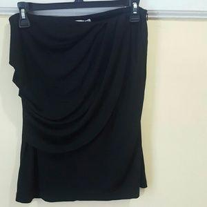 Ruffle front black skirt