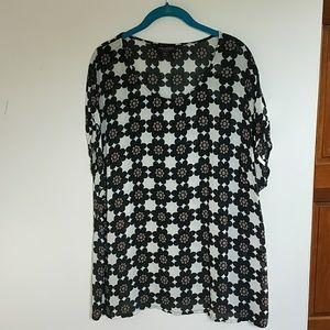 Simply Be  retro flower print blouse 16