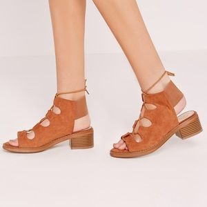 Missguided Suede Lace Up Heeled Sandals