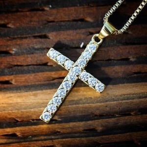 Other - New Gold Cross Iced Out W Chain Men's Necklace NEW