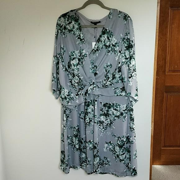 c17601bafb95 Violeta by Mango gray wrap floral dress 16 18 NWT