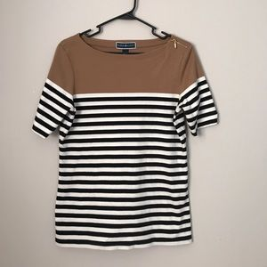 Striped shirt with brown top