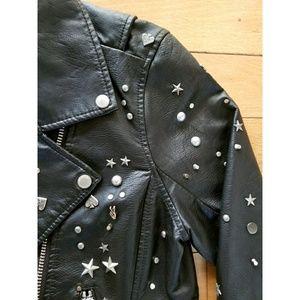 Blank NYC Jackets & Coats - Blank NYC black studded stars faux leather jacket