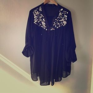 Vintage sheer black sequin tunic button up - XXL