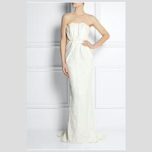 Lanvin Dresses   Strapless Floral Brocade Linen Blend Gown   Poshmark
