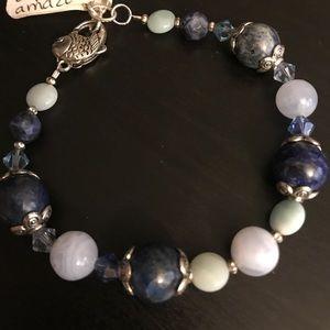 Jewelry - Handcrafted blue Gemstone Bracelet fish clasp