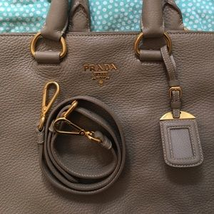 Prada Beige Leather Tote Messenger Bag, Gold HW