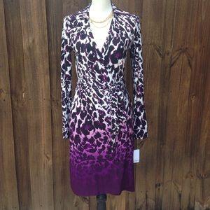 Purple Leopard Print Calvin Klein Wrap Dress