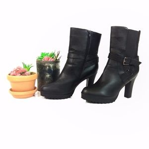 Lane Bryant Black Heeled Moto Buckle Boots 9W