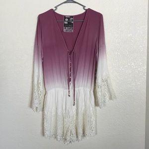 Purple Ombré Laced Shorts Romper | Stretch Cotton