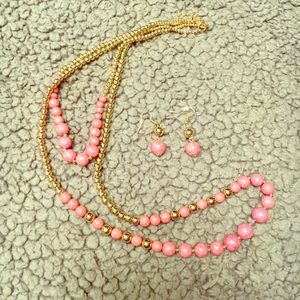 Gold and pink necklace and earrings set