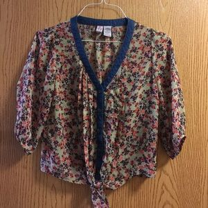 Love on a Hanger sheer calico floral print top, S