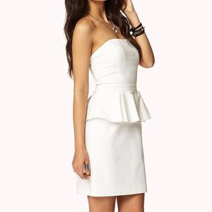 [Forever 21] White Strapless Peplum Dress