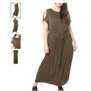 PLUS SIZE NWOT! Jersey Cold Shoulder Maxi Dress