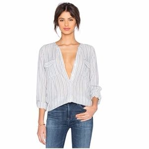 New Joie $188 Kalanchoe Stripe Shirt L