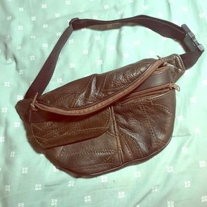 Genuine leather vintage zipper 80s fanny pack
