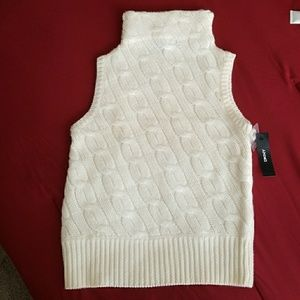 DKNY Sleeveless Turtleneck Sweater Cable Knit