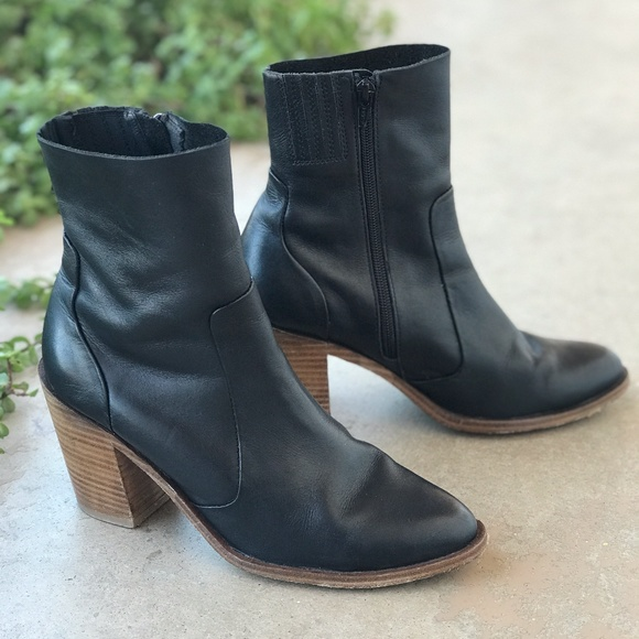 Jeffrey Campbell Black Leather Wood Heel Booties