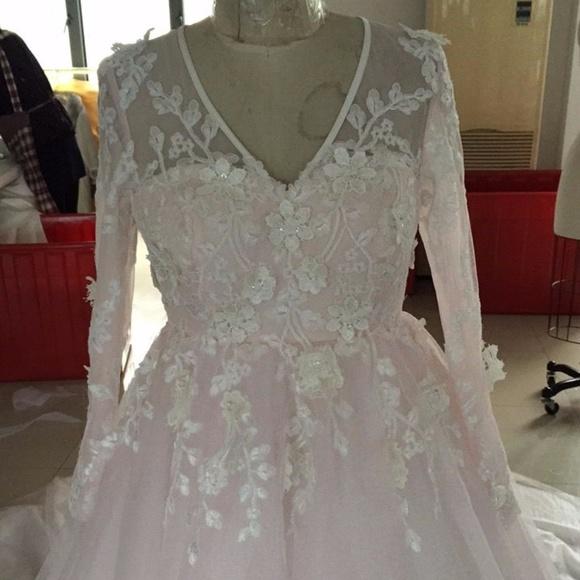 ce27bf9b832 Plus Size v-neck blush colored wedding dress