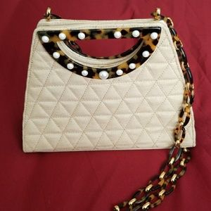 Pearl & Tortoise Embellished Handbag