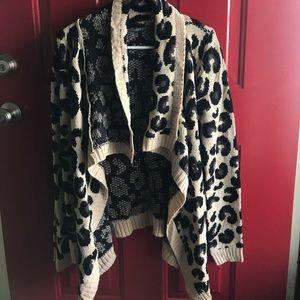 Draped Cheetah Print Open Cardigan