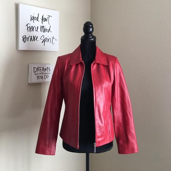 Juliet Michelle Jackets & Blazers - Juliet Michelle Red Genuine Lamb Leather Jacket