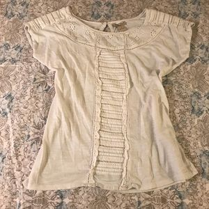 Lucky Brand White Lace Short Sleeve Blouse