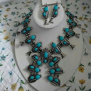 Faux Turquoise Squash Blossom Necklace