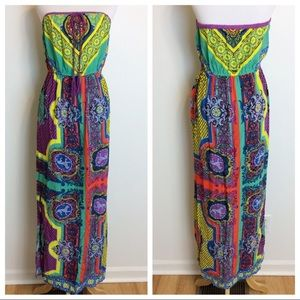 Flying Tomato Colorful Strapless Maxi Dress