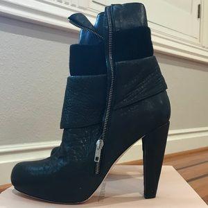 Loeffler Randall - Lucy Layered Zipper Black Boots