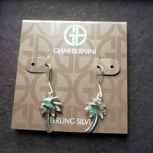 New Sterling Silver & Abalone Palm Tree Earrings