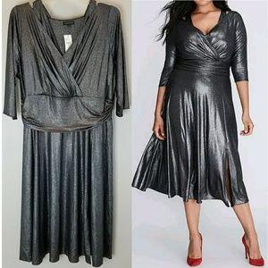 🎄Lane Bryant Metallic Wrap Dress